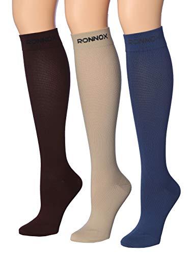 Ronnox Calcetines de compresión 3 pares es el mejor atleta y médico para los hombres viajes, correr,…
