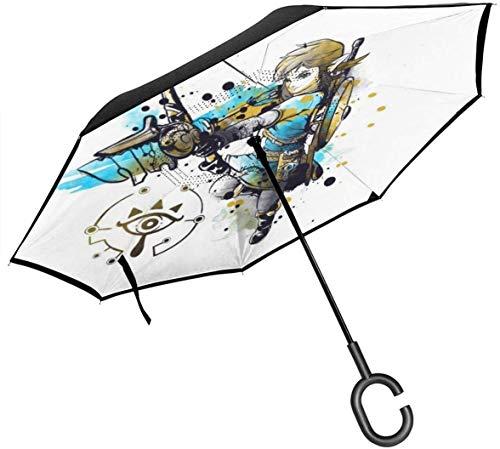 Leyenda de Zelda Link Acuarela de Doble Capa Paraguas invertido para el automóvil Reversa Plegable Al revés Manos en Forma de C - Ligero y a Prueba de Viento y ndash; Regalo Ideal