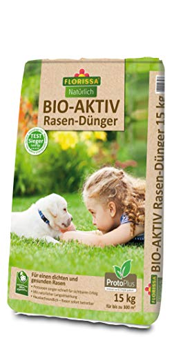Florissa Natürlich 58796 Bio-AKTIV Rasendünger mit ProtoPlus, TEST-SIEGER mit Sofort- und Langzeitwirkung, Braun, 15 kg