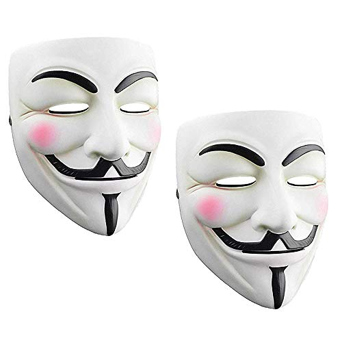 Junyulim 2pcs Anonymous Mask Vendetta Mask for Masquerade Party Halloween Cosplay