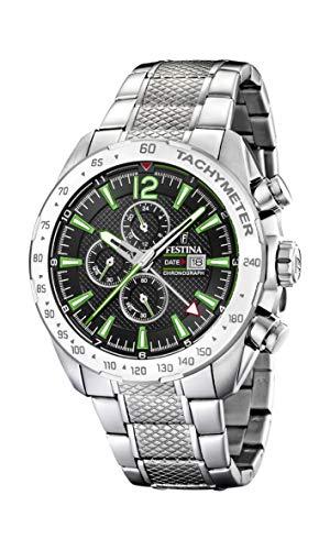 Festina Herren Chronograph Quarz Uhr mit Edelstahl Armband F20439/6