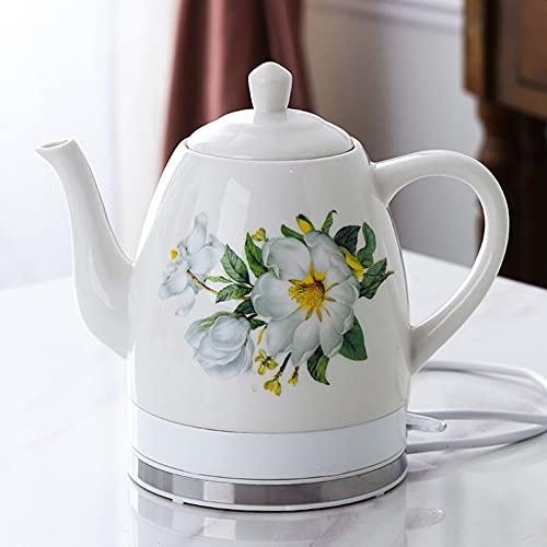 Cerámica eléctrica Kettl porcelana 1350W,1.8L tetera de espuma de porcelana tetera diaria Kungfu tetera de cerámica hervidor eléctrico, té de cerveza rápida, sopa de café/C