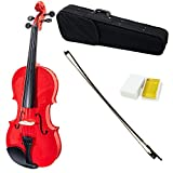 SKY Full Size VN202 Solidwood Red Violin Beautiful Craftsmanship with Brazilwood Bow and Lightweight Case