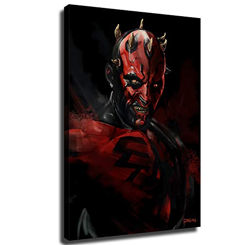 Star Wars Poster Darth Maul Action Figure Posters Wall Decor Room Decor Living Room Decor Canvas Wall Art (20x30inch,Framed)