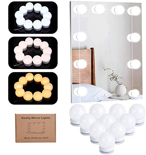 Vanity Makeup Mirror Lights Kit, USB Powered DIY Hollywood Style Dimmable Beauty LED Mirror Strip Light with 10 Bulbs Touch Sensor Dimmer Switch Bathroom Lights 3 Colour Change