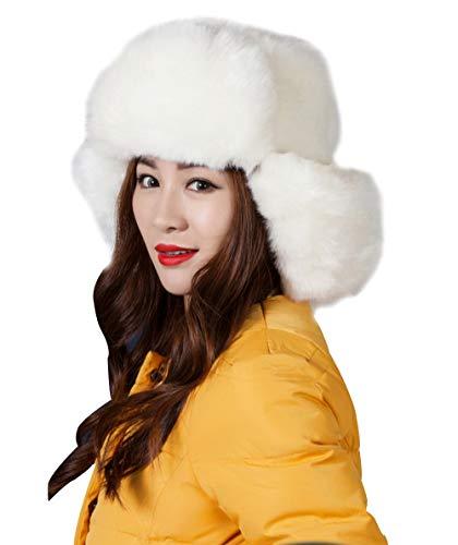 ASKEN Damen Kunstpelz Trapper Hut Winddicht Russische Kosaken Winter Warme Ohrenschützer Uschanka Trooper für Skifahren, Snowboarden, Fahrradfahren, Wandern und Motorradfahren Weiß