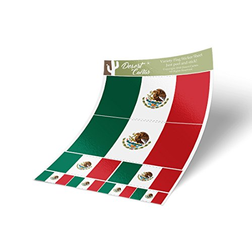 Mexico Country Flag Sticker Decal Variety Size Pack 8 Total Pieces Kids Logo Scrapbook Car Vinyl Window Bumper Laptop Mexican V
