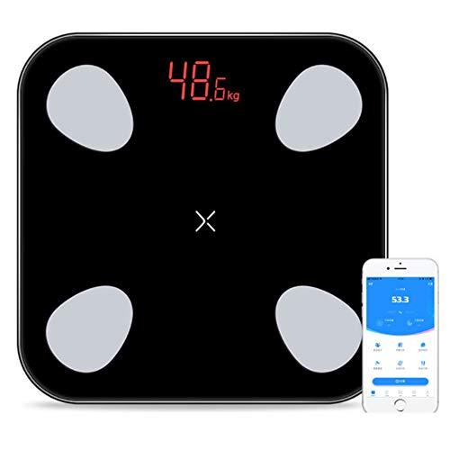 QMKJ Escala de Grasa Corporal Digital báscula de baño Inteligente USB medición de precisión del Cuerpo del Instrumento analizador de composición con Smartphone App 180KG Negro