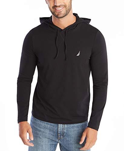 Nautica Men's Long Sleeve Pullover Hoodie Sweatshirt, True Black, Large