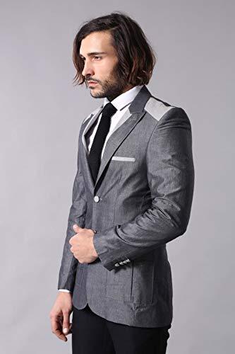 Wessi Spitzhalsband Auslauf Blazer Business Suit Jacket, Gris, 48 Mens