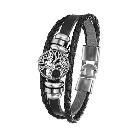 Flongo Bracelet Manchette Multi-Rangs Tressé en Cuir pour Homme Femme Chaîne de Main Réglable avec Plume/Arbre de Vie en Alliage Style Rétro Ethnique