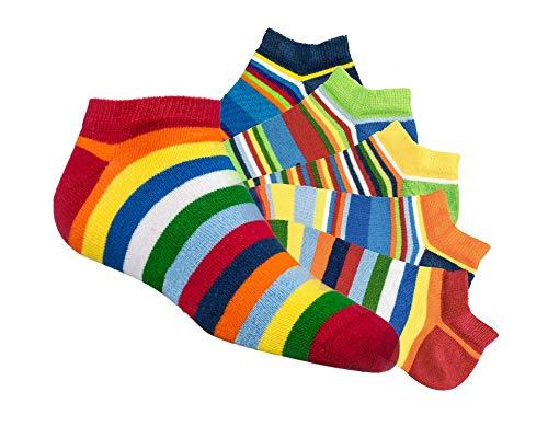 Laake 6 Paar Kinder Sneaker Socken Jungen und Mädchen handgekettelt besonders weiche Baumwolle Ringel (Ringel, 35-38)