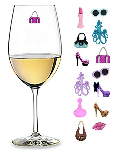 Girls Night Out Wine Charms Set of 13 Magnetic Drink Markers for Cocktails Martinis and Stemless Glassware