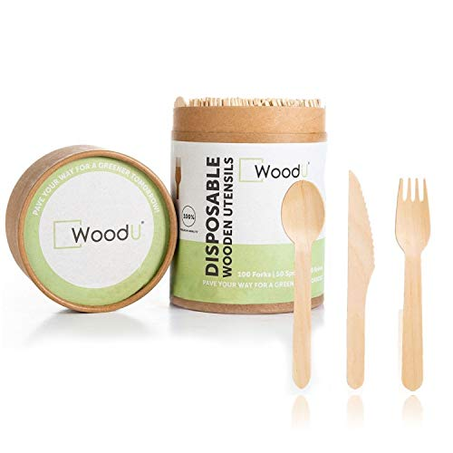 Woodu Eco Friendly Wooden Cutlery Set - All Natural, Biodegradable, Compostable, disposable cutlery and wooden kitchen utensil set taking steps for a Greener Tomorrow! (200 pc)