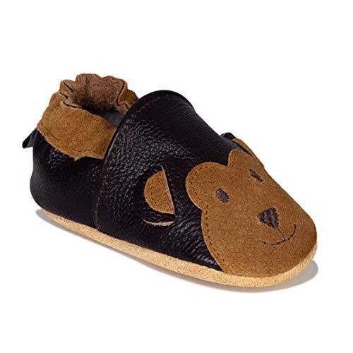 HMIYA Weiche Leder Krabbelschuhe Babyschuhe Lauflernschuhe mit Wildledersohlen für Jungen und Mädchen(6-12 Monate,Braun)
