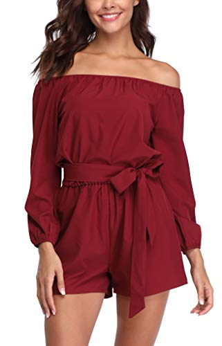 MISS MOLY Jumpsuit Damen Sommer Kurz Sexy Einteiler Playsuit Romper Elegant Rot Medium
