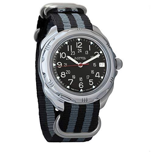 Vostok Komandirskie 2414 Hand-Winding Mechanical Russian Military Mechanical Watch // 211783 (Black+Grey)