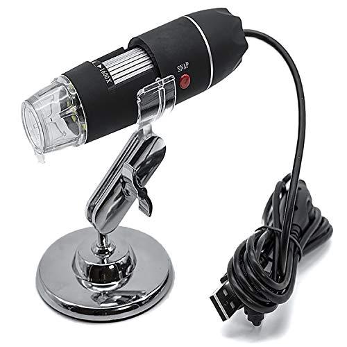 Microscopio digital USB 1600X, Mini Microscopio portatil, 8 Luces LED, 2MP, Cámara con Zoom de 0x a 1600x, soporte 360º