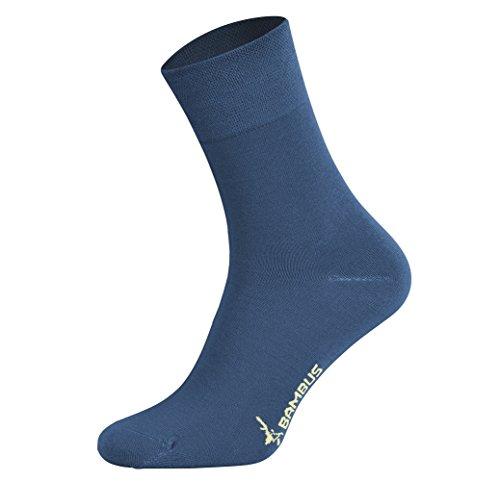 Tobeni 6 Pares Mujer Hombre Calcetines Negocio de Bambú sin Goma Unisexo Jeans Azul Tamano 43-46