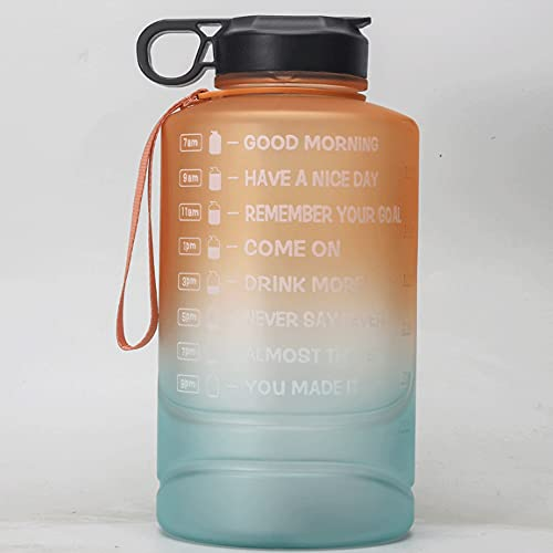 Kdsskj Motivational Water Bottle with 2 Lids (Chug and Straw), Leakproof BPA Free Tritan Sports Water Jug with Time Marker to Ensure You Drink Enough Water Throughout The Day