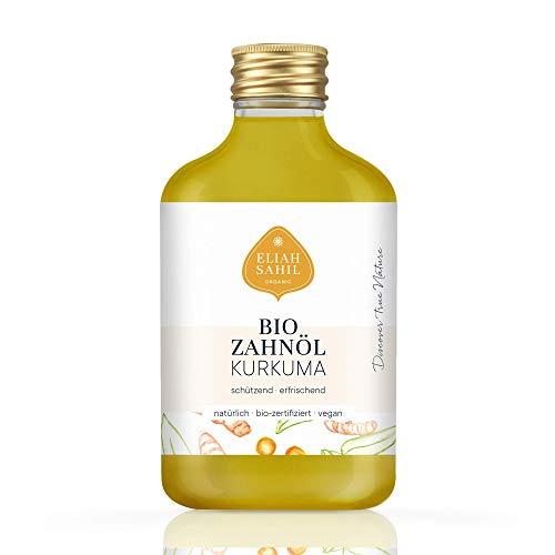 Bio Zahnöl Kurkuma von Eliah Sahil I natürlich I vegan I 100% Bio zertifizierte Naturkosmetik I mit Kurkumaöl, Xylit und Drachenblutpulver I 100 ml