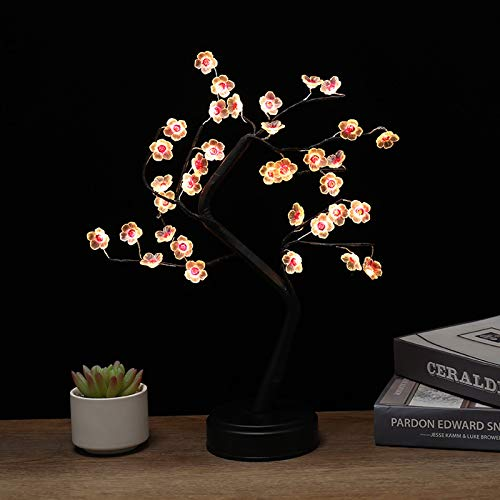 Sakura Pink Twig Light Branches Tree Light with 36 LED USB&Battery Powered Adjustable Branches Push Switch Table Lamp Night Light for Home Wedding Christmas Decoration and Gift (Sakura Pink)