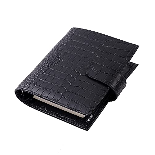 Moterm A6 Luxe Rings Planner - Genuine Leather Binder Organizer (Croc-Black, 30mm Ring)