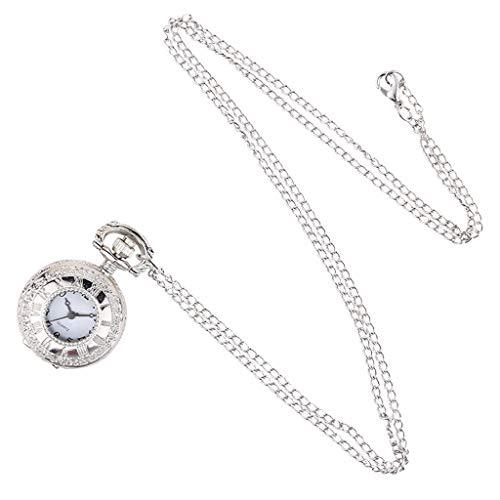 Reloj de Bolsillo para Hombre y Mujer, de Cuarzo, Estilo Retro, diseño Hueco con Colgante de Cadena Larga, diseño de Esfera numérica Resistente al Agua