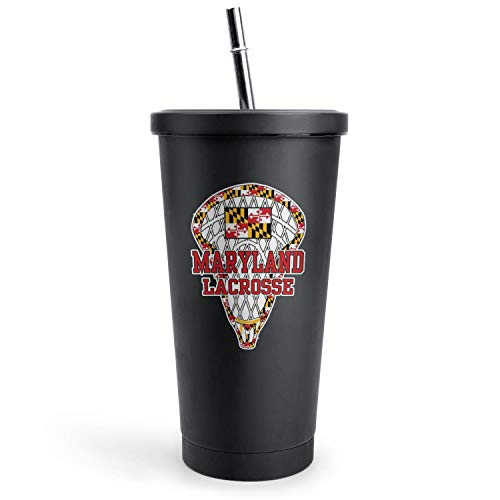 Maryland Stick Lacrosse Street Sign Picnic Black Double Wall Stainless Steel Cups Of with Lids and Straws Vacuum Insulated Tumbler Best Friend Gift Water Mug