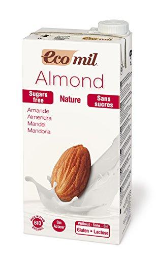 Ecomil- Bevanda alla mandorla bio, senza zucchero, 6 confezioni da 1 litro