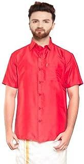 SJS-Men's Half Sleeve Solid Art Silk Shirt