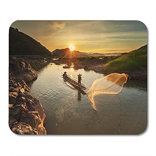 N\A Alfombrilla de ratón Blue Fisherman of Mekong River in Action When Fishing Mousepad para portátiles, Ordenadores de sobremesa Alfombrillas de ratón, Material de Oficina