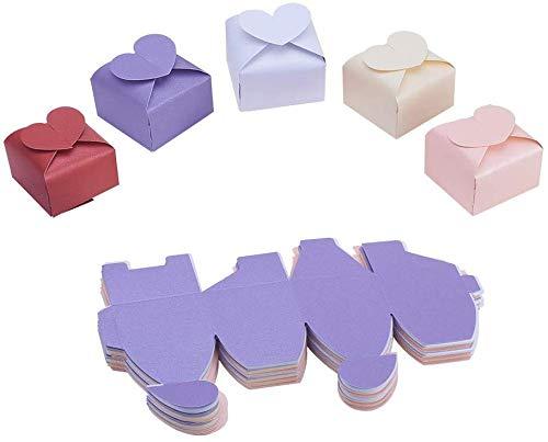 NBEADS 約50個 心形 ギフトボックス 紙製 キャンディボックス 組立て式 包装箱 持ち運びが簡単 包装 贈り物 シンプル 小物 ジュエリー収納 ラッピング お菓子ボックス チョコレート ミニギフト ウェディング パーティー