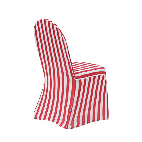 YCC Linen - 6 Pack Stretch Spandex Chair Covers Striped - Red and White