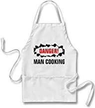 Smity 106 Funny Funny BBQ for Guys   Danger Man Cooking! Apron White, One Size Fits Most
