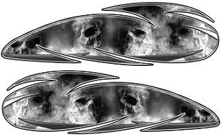 Custom Motorcycle Gas Tank Graphics With Gray Skulls