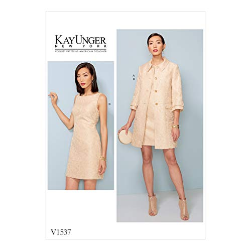 Vogue Patterns Patrons de Veste et Robe, Multicolore, Tailles 14–22