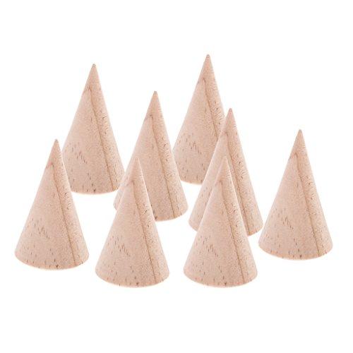 MagiDeal 8 Stücke Schmuck Anzeige Ständer Organisator Halter Kegel Form aus Holz