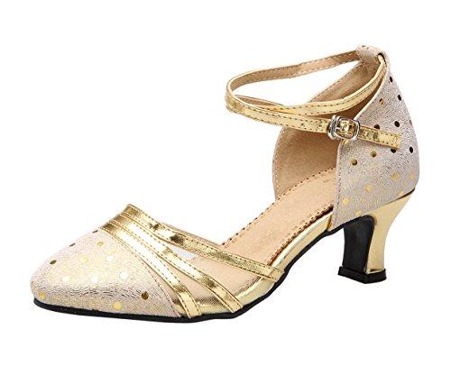 Honeystore Frauen's Funkelnde Glitzer Lackleder Heels Absatzschuhe Moderne mit Knöchelriemen Tanzschuhe Gold 35 EU