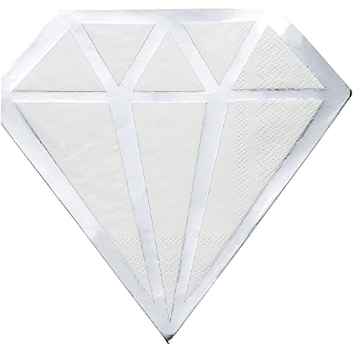 Silver Foil Diamond Die Cut Paper Party Napkins (6.2 x 6.2 Inches, 50 Pack)