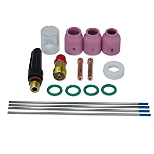 "TIG Stubby Gas Lens 17GL332 3/32"" & #10 Pyrex Cup & 2% Lanthanated Tungsten Electrode Kit Fit DB SR WP 17 18 26 TIG Welding Torch 17pcs from RIVERWELDstore"