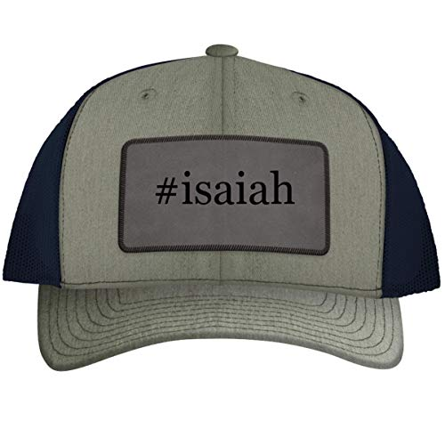 #Isaiah - Leather Hashtag Grey Patch Engraved Trucker Hat, Heather-Navy, One Size