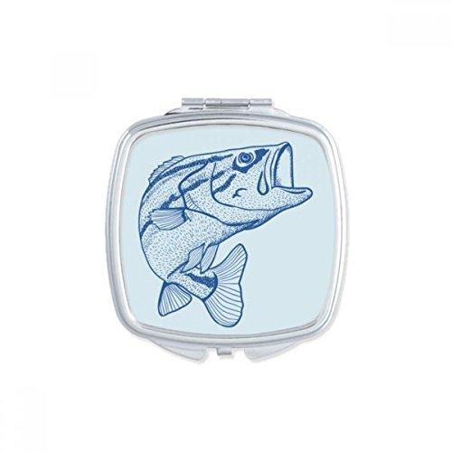 DIYthinker Grain Bleu Big Square Poisson Maquillage Compact Miroir de Poche Portable Mignon Petit Cadeau Miroirs Main Multicolore