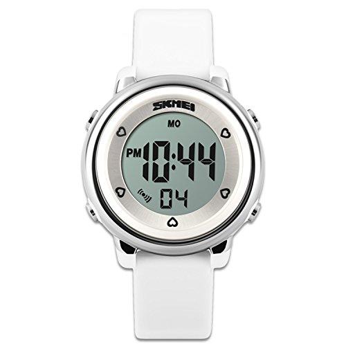 Los niños de relojes reloj deportivo con cronómetro y 7LED retroiluminación función tiempo maestro azul & blanco & verde correa de silicona de niños niñas watch-white