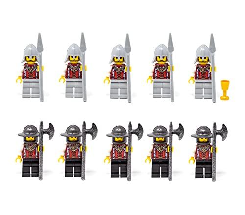 LEGO Castillo de Kingdoms, caballeros del ejército con 2 x 5 caballeros de león con lanas y bigotes y reina, juego de 11 figuras