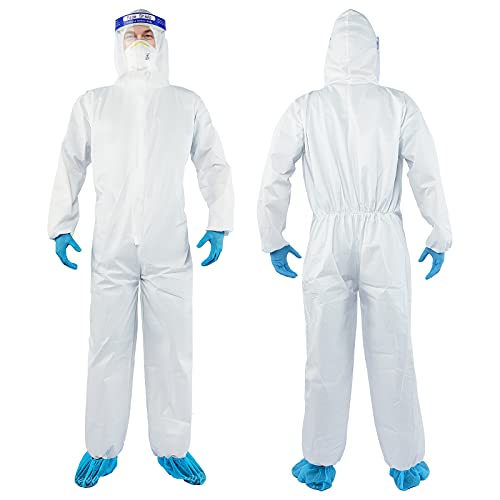 YIBER Disposable Protective Coverall Hazmat Suit, Heavy Duty Painters Coveralls, Made of SF Material, Excellent air permeability and water repellency - 1 PCS/PACK (XXL, White)