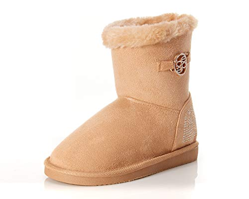 bebe Girls' Winter Boots - Microsuede Faux-Fur Shearling Boots with Rhinestones and Medallion (Big Kid), Tan, Size 3