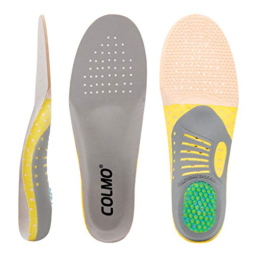 COLMO Arch Support Insoles for Women - Plantar Fasciitis Shock Absorbing Pain Relief Orthotics Flat Feet Full Length Inserts Size Cuttable (US 5-7.5)