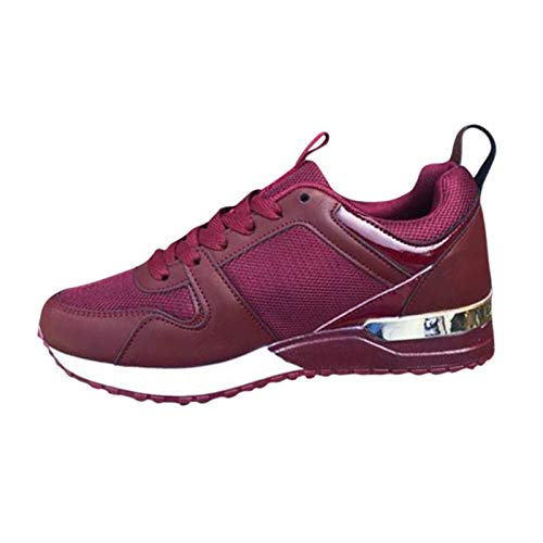 Women's Fashion Sneakers Lace-up Wedge Sports Breathable Outdoor Casual Shoes, Red, 10.5 M US