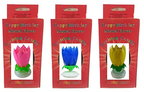 3 Pack (Pink Blue and Yellow) Birthday Candle Flower Birthday Candle